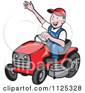 Cartoon Of A Happy Landscaper Waving And Operating A Lawn Mower Royalty Free Vector Clipart