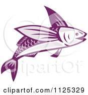 Clipart Of A Retro Purple Flying Fish Royalty Free Vector Illustration