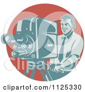 Clipart Of A Retro Camera Man Working Over A Red Circle Royalty Free Vector Illustration by patrimonio