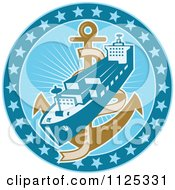 Retro Cargo Ship And Anchor In A Blue Circle Of Stars