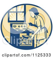 Clipart Of A Retro House Wife Cooking Meats In An Oven Royalty Free Vector Illustration