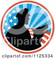 Clipart Of A Silhouetted Security Guard And Dog Over An American Circle Royalty Free Vector Illustration