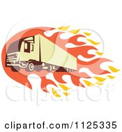Clipart Of A Retro Big Rig Truck With Flames Royalty Free Vector Illustration