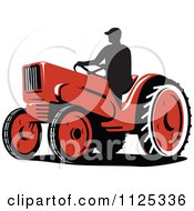 Clipart Of A Silhouetted Retro Farmer On A Tractor Royalty Free Vector Illustration