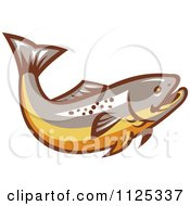 Clipart Of A Retro Trout Fish Royalty Free Vector Illustration by patrimonio