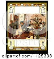 Clipart Of A Vintage Scene Of A Poodle Begging For Food While People Eat At A Buffet With Copyspace Royalty Free Illustration