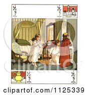 Clipart Of A Vintage Scene Of Girls Gathering Around A Window With Copyspace Royalty Free Illustration