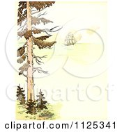 Clipart Of A Vintage Scene Of A Tree And Tall Ship At Sea With Copyspace Royalty Free Illustration by Prawny Vintage