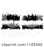 Clipart Of Black And White Grungy Dance Crowds Royalty Free Vector Illustration