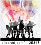Clipart Of Silhouetted Dancers Under Flares And Lights Royalty Free Vector Illustration