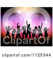 Clipart Of Silhouetted Dancers Under Colorful Flares And Lights Royalty Free Vector Illustration
