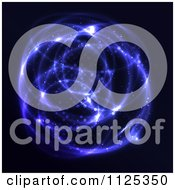 Clipart Of A Glowing Sphere Of Blue Light On Black Royalty Free Vector Illustration