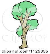 Cartoon Of A Tree With Green Foliage 9 Royalty Free Vector Clipart by lineartestpilot