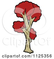 Cartoon Of A Tree With Red Autumn Foliage 5 Royalty Free Vector Clipart