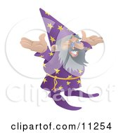 Old Male Wizard With Standing WIth His Arms Out Clipart Illustration