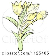 Cartoon Of Tulip Flowers 1 Royalty Free Vector Clipart
