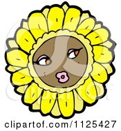 Cartoon Of A Sunflower Character 2 Royalty Free Vector Clipart by lineartestpilot