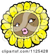 Cartoon Of A Sunflower Character 3 Royalty Free Vector Clipart by lineartestpilot