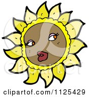 Cartoon Of A Sunflower Character 4 Royalty Free Vector Clipart by lineartestpilot