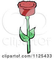 Cartoon Of A Red Tulip Flower 2 Royalty Free Vector Clipart by lineartestpilot