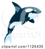 Cartoon Of A Happy Jumping Orca Killer Whale Royalty Free Clipart