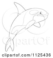 Cartoon Of An Outlined Happy Jumping Orca Killer Whale Royalty Free Clipart