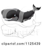 Cartoon Of Happy Outlined And Black Sperm Whales Royalty Free Clipart