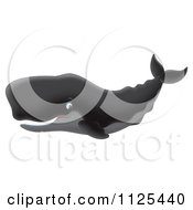 Cartoon Of A Happy Black Sperm Whale Royalty Free Clipart by Alex Bannykh