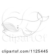 Cartoon Of An Outlined Happy Right Whale Royalty Free Clipart