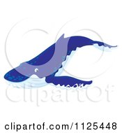 Cartoon Of A Happy Cute Humpback Whale Royalty Free Clipart by Alex Bannykh