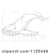 Cartoon Of An Outlined Happy Cute Humpback Whale Royalty Free Clipart by Alex Bannykh