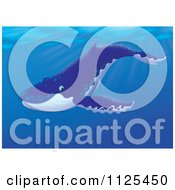 Cartoon Of A Happy Cute Humpback Whale Swimming Royalty Free Clipart by Alex Bannykh