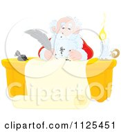 Cartoon Of Santa Writing A List With A Messy Ink Quill Royalty Free Clipart