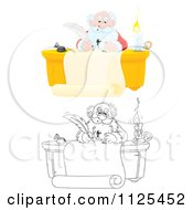 Cartoon Of Colored And Outlined Scenes Of Santa Writing With A Messy Ink Quill Royalty Free Clipart