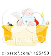 Cartoon Of Santa Writing With A Messy Ink Quill Royalty Free Clipart