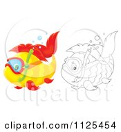Cartoon Of Outlined And Colored Happy Snorkeling Fish Royalty Free Clipart