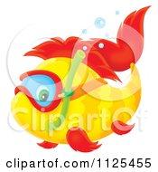 Cartoon Of A Happy Snorkeling Fish Royalty Free Clipart