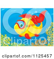 Cartoon Of A Happy Snorkeling Fish Above Corals Royalty Free Clipart