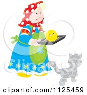 Cartoon Of A Woman Carrying A Smiley On A Tray Over A Cat Royalty Free Vector Clipart