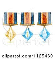 Clipart Of Roman Numeral Gold And Blue Crystal First Place Award Medals Royalty Free Vector Illustration by merlinul