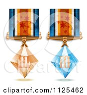 Clipart Of Roman Numeral Bronze And Blue Crystal First Place Award Medals Royalty Free Vector Illustration by merlinul