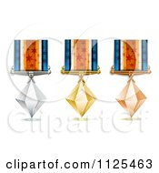 Clipart Of Bronze Silver And Gold Crystal Place Award Medals Royalty Free Vector Illustration