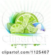 Clipart Of Lime Slices With Leaves Rays And An Umbrella Royalty Free Vector Illustration