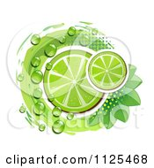 Clipart Of Lime Slices Dew Leaves And Halftone On White Royalty Free Vector Illustration