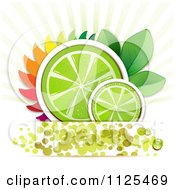 Clipart Of Lime Slices With Leaves Rays And Dots Royalty Free Vector Illustration