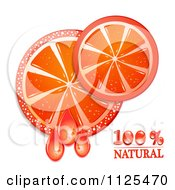 Clipart Of Natural Blood Orange Slices And Text On White 1 Royalty Free Vector Illustration by merlinul