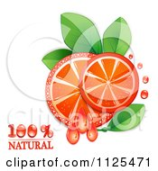 Clipart Of Natural Blood Orange Slices And Text On White 2 Royalty Free Vector Illustration by merlinul