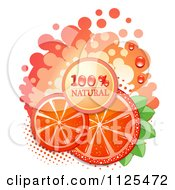 Clipart Of Natural Blood Orange Slices And Text On White 3 Royalty Free Vector Illustration by merlinul