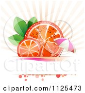 Clipart Of Blood Orange Slices Rays And Copyspace With An Umbrella On White Royalty Free Vector Illustration by merlinul