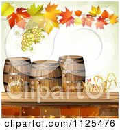 Clipart Of An Autumn Wine Barrel Leaf And Grapes Background 1 Royalty Free Vector Illustration by merlinul